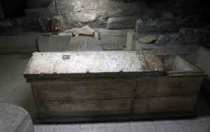The marble tomb of St. Lazarus, located in the crypt under the church.
