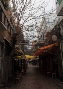 Cafes in Nicosia with grape vines suspended above them.
