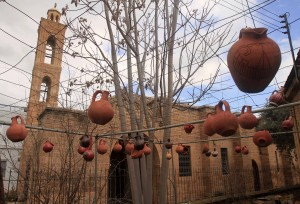 Pottery hanging next to the Ag. Antonios Church.