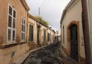 Winding street in Old Town Nicosia.