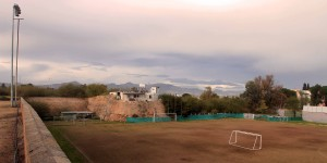 Football field right next to the border of Northern Cyprus.