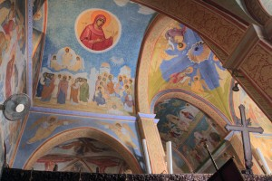 Frescoes adorning the ceiling inside St. Gabriel's Orthodox Church.