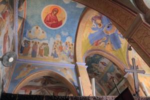 Frescoes adorning the ceiling inside St. Gabriel's Orthodox Church.
