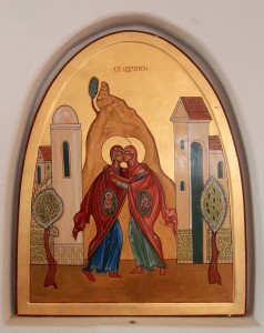 Painting of Mary visiting Elizabeth depicting Jesus and John in their wombs.