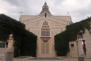 The entrance gate to the Basilica of the Annunciation.