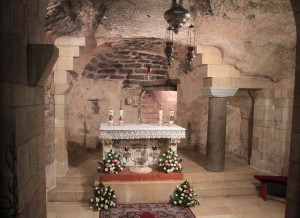 Inside the grotto, the traditional site of the Annunciation according to the Catholic faith.