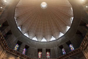 Looking up at the dome inside the Basilica of the Annunciation.
