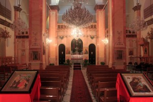 Inside the Greek Catholic Church right next to the Synagogue Church.