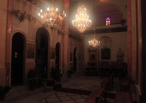 The templon (barrier separating the nave from the sacraments at the altar) inside the Greek Catholic Church.