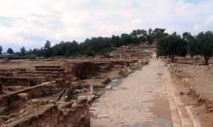 "Roman street (the Decumanus"") in the ruins of Zippori."