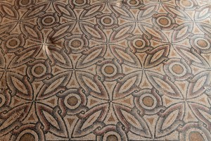 Mosaic with a geometric pattern.