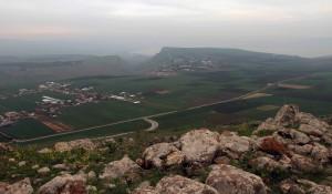 View of the Sea of Galilee behind Mount Arbel.