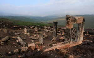 Ruins of a fourth-century AD synagogue in Arbel.