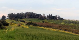 Hiking up the Mount of Beatitudes (where Christ gave the Sermon of the Mount).