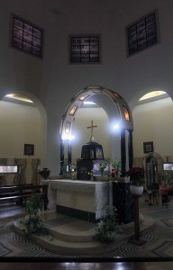 Inside the Roman Catholic Chapel on the Mount of Beatitudes.