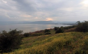 The Sea of Galilee seen from the Mount of Beatitudes.