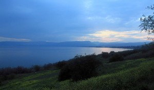 Twilight at the Sea of Galilee.