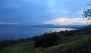 Twilight at the Sea of Galilee.