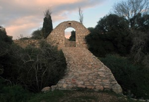 """Bridge and gate leading to the """"Cave of Melchizedek."""""""