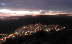 The town of Daburiyya (in the foreground) and other villages lighting up the evening sky.