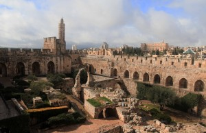 The archaeological courtyard inside the Tower of David citadel.