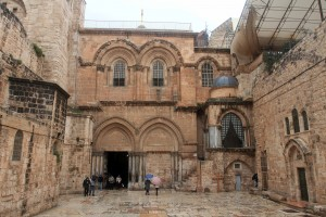 The courtyard and entrance to the Church of the Holy Sepulchre.