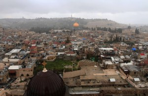 Looking toward the Dome of the Rock from the bell tower of the Church of the Redeemer.