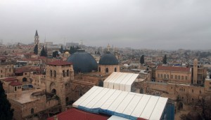 Looking toward the Church of the Holy Sepulchre from the bell tower of the Church of the Redeemer.