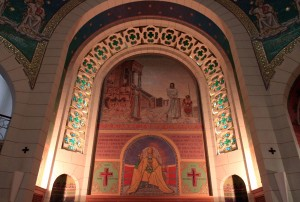 Mosaic inside the St. Peter Gallicantu Church.