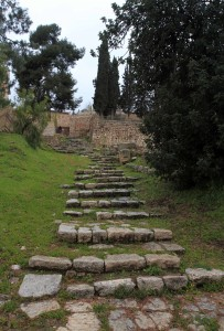 Steps leading up from the Kidron Valley (many Christians believe that Jesus followed this path down to Gethsemane the night of his arrest).