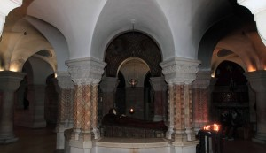 Inside the crypt under the Church of Dormition, with a statue of her marking the spot where she died.