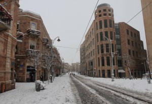 Jaffa Road covered in snow.