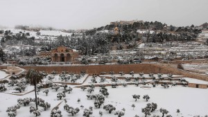 The Mount of Olives with the Basilica of the Agony (at Gethsemane) and the Church of Mary Magdalene in view.