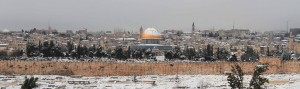 Closeup of the Dome of the Rock in the snow.
