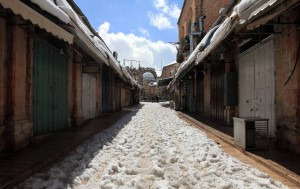 Snow-covered street in the Old City.