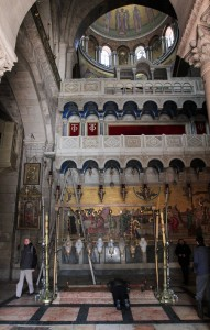 The Stone of Anointing seen from the entrance to the Church of the Holy Sepulchre.