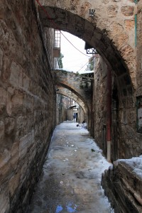 Slush covered street.