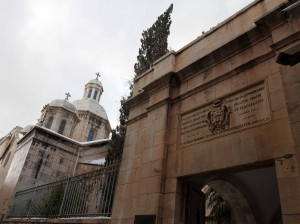 Outside the entrance to the Church of Condemnation (seen on the left) and the Church of Flagellation.