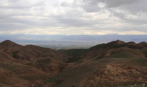 Looking toward the Moab Mountains (seen in the distance) in Jordan.