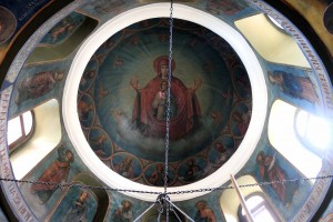 Looking up at one of the dome ceilings inside the monastery.