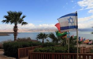 Approaching the Dead Sea at Kalia Beach.