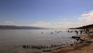 Looking south at the Dead Sea.
