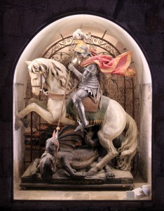 Statue of St. George slaying the dragon.