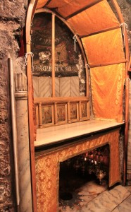 The altar in the Grotto of the Nativity - the star under the altar marks the spot where the manger was located.