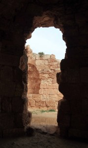Looking out the entrance to the bathhouse in the mountain palace-fortress in Herodium.
