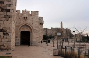 Jaffa Gate on the Old City walls in Jerusalem.