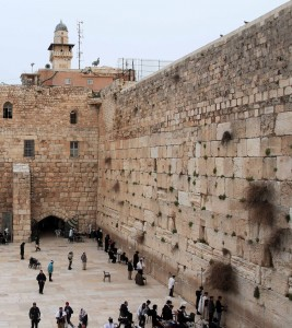 The Western Wall, seen from the footbridge to the Temple Mount.