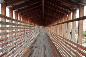Inside the covered footbridge to the Temple Mount.