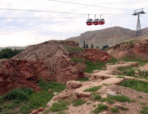 The cable cars that take passengers up to the Monastery of Temptation, seen from Tell es-Sultan.