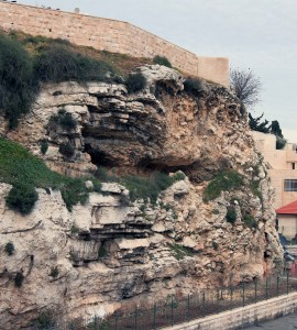 Gordon's Golgotha (a possible location of Calvary and the Crucifixion of Jesus Christ) - the rock face used to look more like a skull (thus the name Golgotha), but the nose fell off due to the winter storm three days ago (the remains can be seen at the base of the cliff).